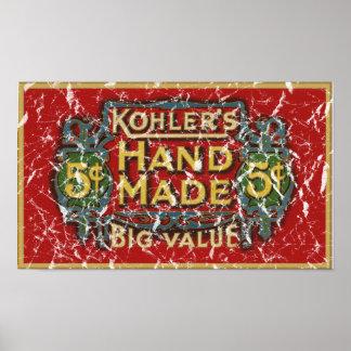 Kohler's Cigars - 1900 - distressed Poster