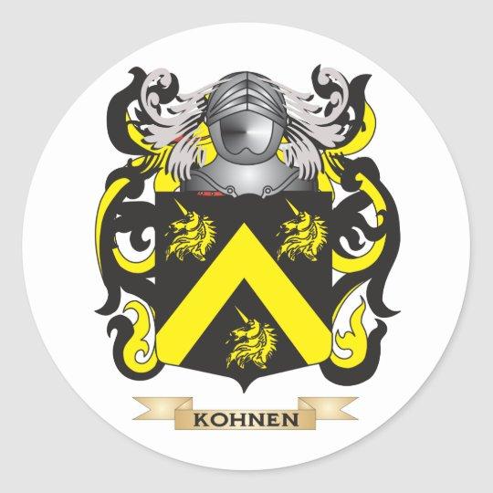 Kohnen Coat of Arms (Family Crest) Classic Round Sticker