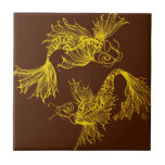 Koi amarillo afortunado teja  ceramica