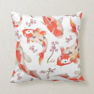 Koi and Cherry Blossom Pattern Throw Pillow