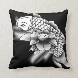 Koi and flower - shaded throw pillow