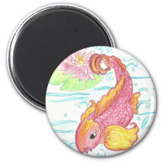 Koi and lotus 2 inch round magnet