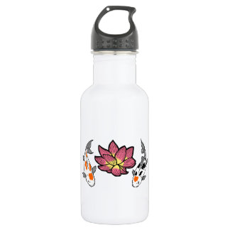 KOI AND LOTUS APPLIQUE STAINLESS STEEL WATER BOTTLE