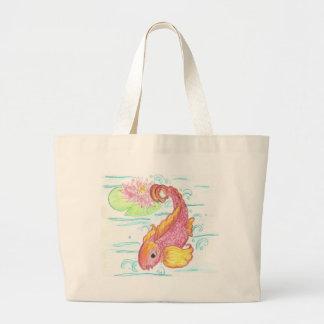 Koi and lotus large tote bag