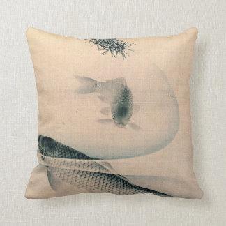Koi and Pine Branch 1790 Throw Pillow