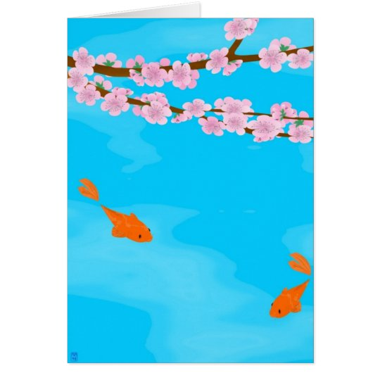 Koi and Sakura Greeting Card