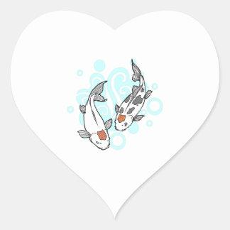 KOI AND WATER HEART STICKER