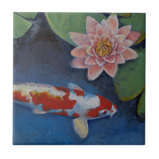 Koi and Water Lily Ceramic Tile