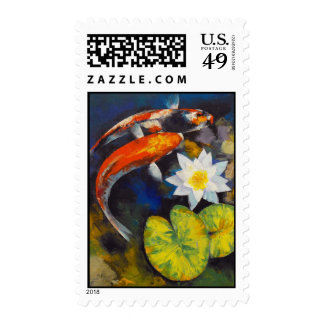 Koi and Water Lily Stamp
