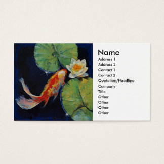 Koi and White Lily Business Card
