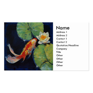 Koi and White Lily Business Cards