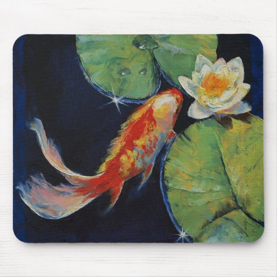 Koi and White Lily Mouse Pad