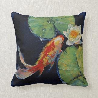Koi and White Lily Throw Pillow