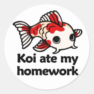 Koi ate my homework classic round sticker