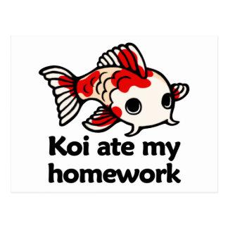 Koi ate my homework postcard