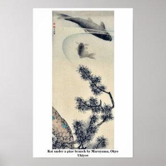 Koi bajo rama del pino por Maruyama, Okyo Ukiyoe Póster