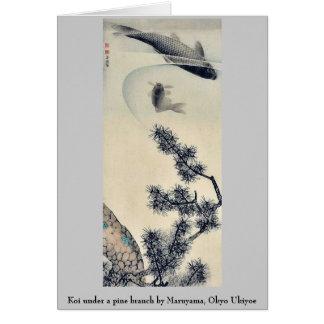 Koi bajo rama del pino por Maruyama Okyo Ukiyoe Tarjeta