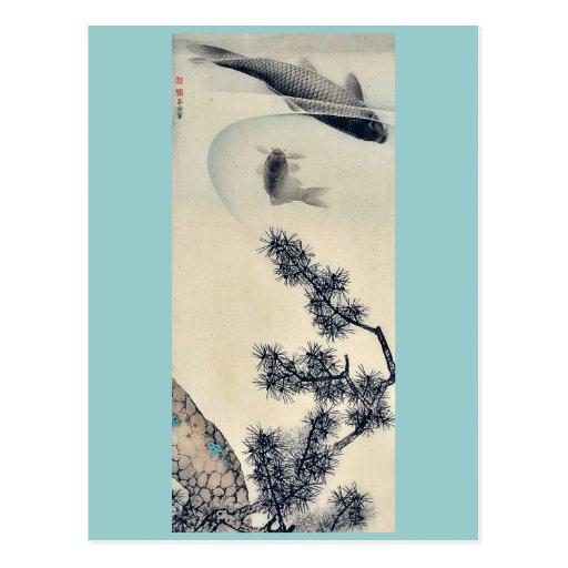 Koi bajo rama del pino por Maruyama, Okyo Ukiyoe Postal