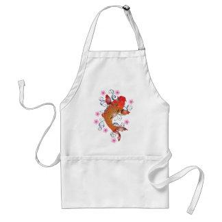 Koi Carp Fish Flower Cherry Cherry Blossom Adult Apron