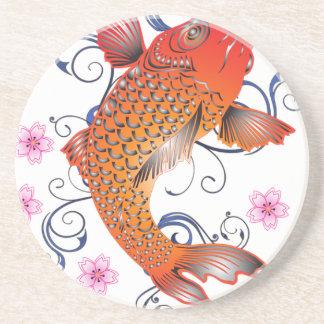 Koi Carp Fish Flower Cherry Cherry Blossom Coaster