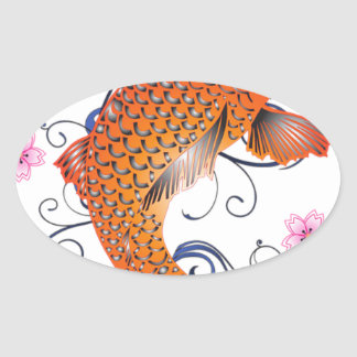 Koi Carp Fish Flower Cherry Cherry Blossom Oval Sticker