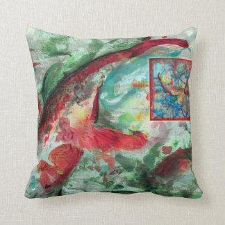 Koi Carp Fish Painting by Alexandra Cook Throw Pillow