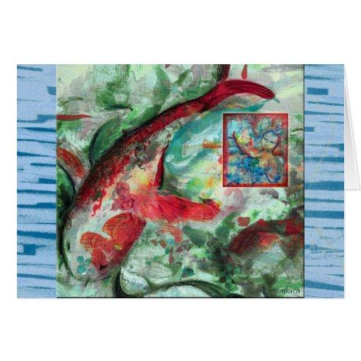 Koi Carp Fish Painting Card