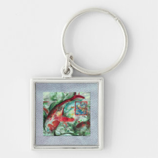 Koi Carp Fish Painting Silver-Colored Square Keychain