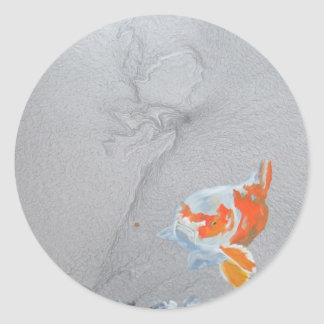Koi carp in pond classic round sticker