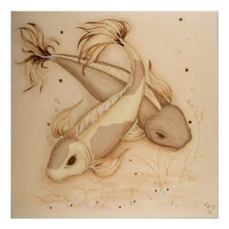 Koi Carp Japanese Fishes Painting Art Print