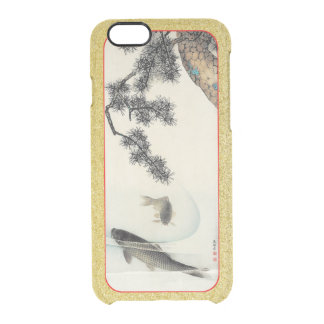 Koi carp under a pine branch vintage print custom clear iPhone 6/6S case