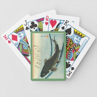 Koi (carpa) - impresión japonesa de los pescados baraja de cartas bicycle