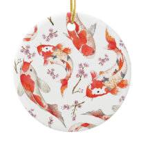 Koi Cherry Blossom Pattern Ceramic Ornament