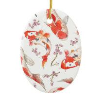 Koi Cherry Blossom Pattern Ceramic Ornament