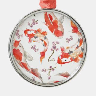 Koi Cherry Blossom Pattern Metal Ornament