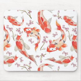 Koi Cherry Blossom Pattern Mouse Pad