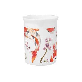 Koi Cherry Blossom Pattern Pitcher