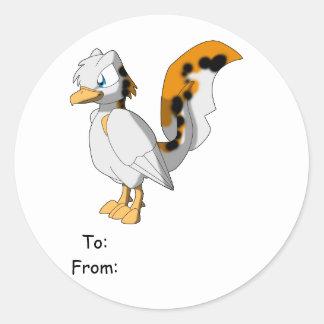 Koi-Colored Reptilian Bird Gift Tag Round Stickers