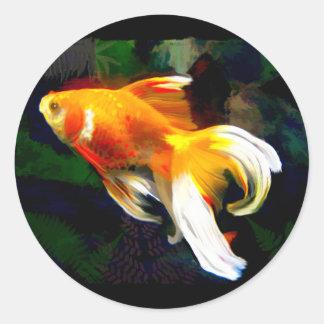 Koi de oro brillante en el estanque de peces oscur etiquetas redondas