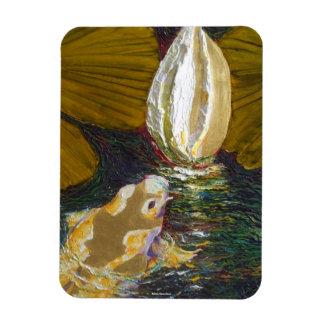 Koi de oro en imán de la charca del lirio