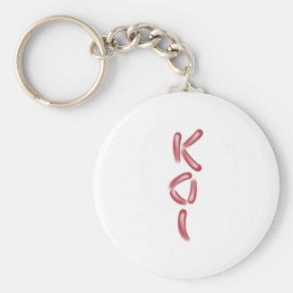 """""""KOI"""" en arte rojo y blanco del texto de los Llavero Redondo Tipo Pin"""