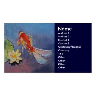 Koi en azul y de color de malva tarjetas de visita