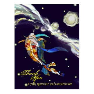 Koi en diseño de la fantasía del universo le agrad tarjetas postales