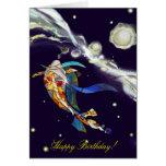 Koi en tarjeta de felicitación del feliz cumpleaño