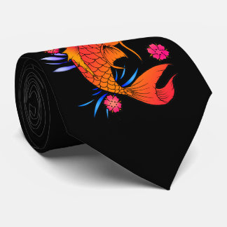 koi fish and flowers neck tie
