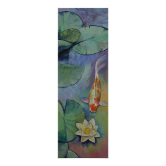 Koi Fish and Lilies Poster