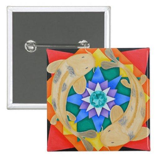 Koi Fish and Lotus Button