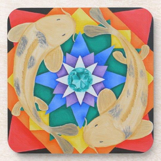 Koi Fish and Lotus Cork Coaster
