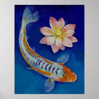 Koi Fish and Lotus Print