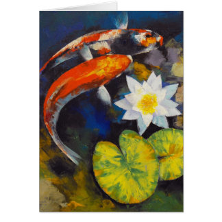 Koi Fish and Water Lily Card